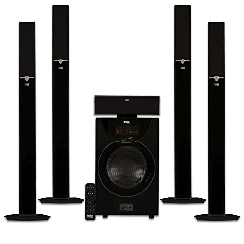 Acoustic Audio AAT2003 Tower 5.1 Home Theater Bluetooth Speaker System with 8″ Powered Subwoofer