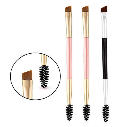Eyebrow Brush - Set of 3 Spoolie and Angled Eye Brow Brush Apply for Brow Powders Waxes Gels and Blends (2 Pink+ 1 Black)