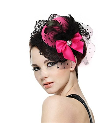 Interesting Lovely Women Lady Girl Bow Hair Clip Lace Feather Mini Top Hat Cap Fascinator