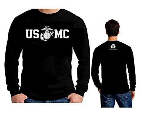 Usmc Marine Bulldog T-shirt Top - Lucky Ride Marine Corps Bull Dog Front and Back USMC Men's T-Shirt Longsleeve, Black, L