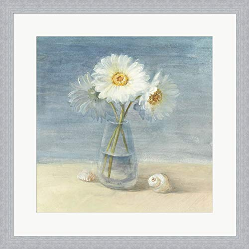 Daisies and Shells by Danhui NAI Framed Art Print Wall Picture, Slim Silver Frame, 19 x 19 inches