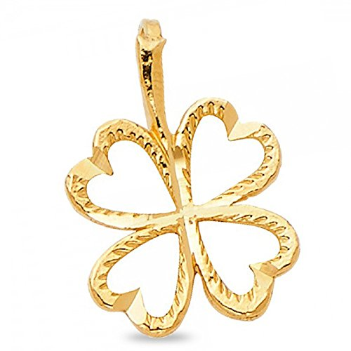 GemApex Clover Pendant Solid 14k Yellow Gold Irish 4 Leaf Charm Good Luck Diamond Cut Polished 11 x 11 mm