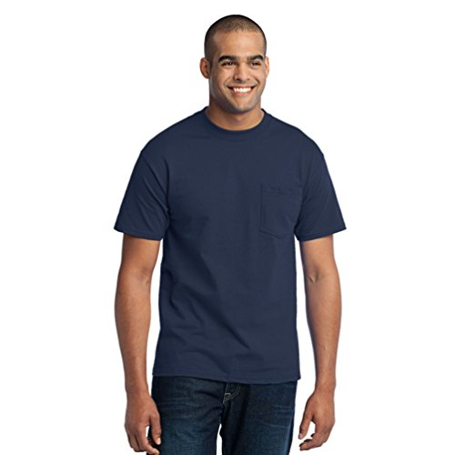 Port & Company Men's Tall 50/50 Cotton/Poly T Shirt with Pocket 3XLT Navy