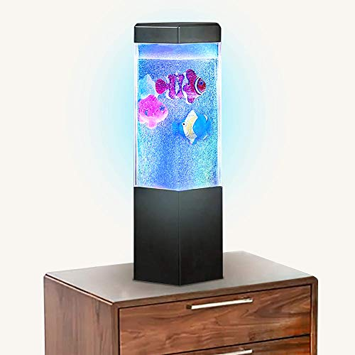 ArtCreativity Fish Tank Night Lamp with Bubbling Water and Fish - 9 inches Big-Sized Battery-Operated LED Light - Comes in a Printed Box - Practical Gift Idea for Teens - Batteries not Included -