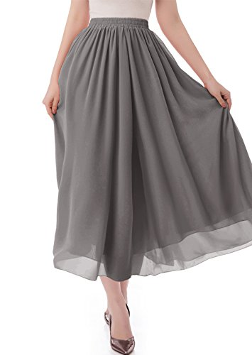 malishow Women's Long Chiffon Skirt Pleated Retro Beach Skirts A-line Maxi Dress Dark Grey M