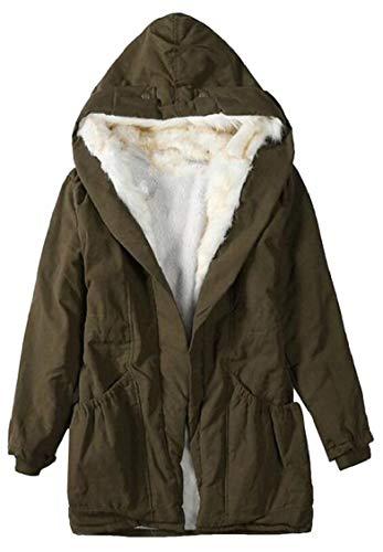 Coats Warm Lined Faux Parkas Hooded Fur Long Military Winter Armygreen Women Gocgt q4wBOO
