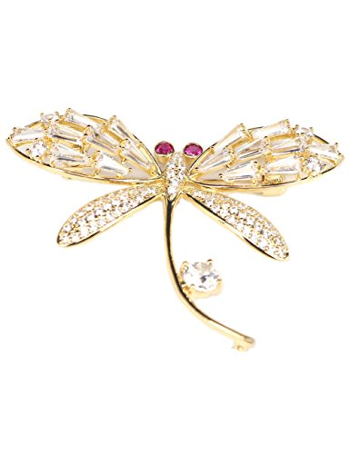 18k Gold-plated Brooch Pins for Women Girls Dragonfly Brooches with Pearl Cubic-zirconia Wedding Breastpins Bridal Jewelry (Cubic Zirconia Dragonfly Brooch)