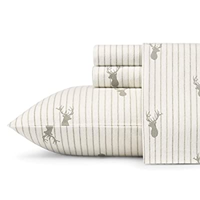 Eddie Bauer Deer Lodge Sheet Set, Full, Beige - 100% cotton Flannel Luxury and comfort: experience the comfort and coziness of Eddie Bauer Flannel sheet sets our Flannel is developed using an 8-stage brushing process. This process enhances the softness of the sheets and eliminates pilling. With each washing the sheets become even softer and cozier. The will also wick moisture away from the body as they are very absorbant. Ultimate warmth- Flannel is known for it warming properties, they are perfect for layering. If you get too warm use just the flat sheet or the fitted sheet in order to maintain the perfect balance for your best sleep. - sheet-sets, bedroom-sheets-comforters, bedroom - 41ZH8karqeL. SS400  -