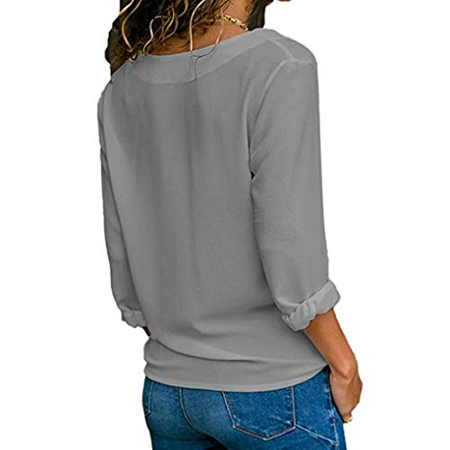 Longues Bouton col lgant Casual XL T Blouse Roll Et Printemps Femmes Gris Shirt Tops Jupes Solide Up Chemises Manches S Blouse Blouse V HENPI Tops w8xYZOA8q