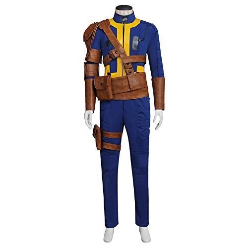 Mens Handsome Game Blue Outfit Jumpsuit Halloween Cosplay Full Set Suits Costume XS ()