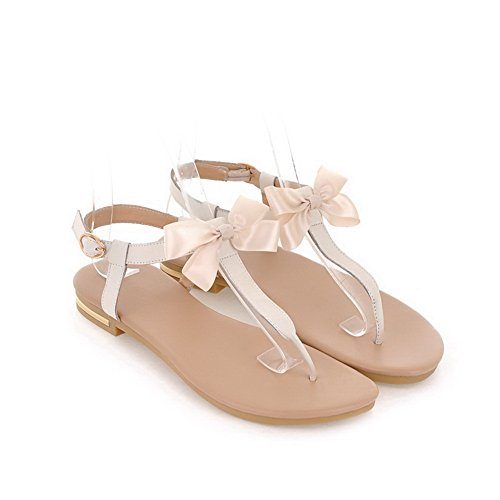 Toe Split Womens Solid Low AalarDom Buckle Beige Sandals Heels Soft Materials wZqEddx5