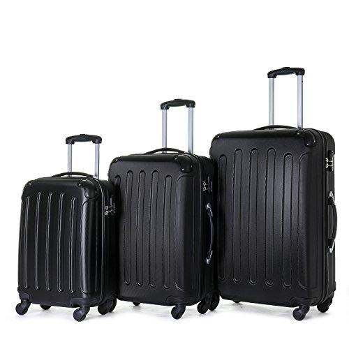 BEIBYE Koffer Farbauswahl!! 3 tlg. Reisekofferset Kofferset Trolley Hartschale (Schwarz)