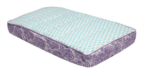 Bacati Isabella Girls Paisley Leaves Quilted Diaper Changing Pad Cover, Lilac/Purple/Aqua