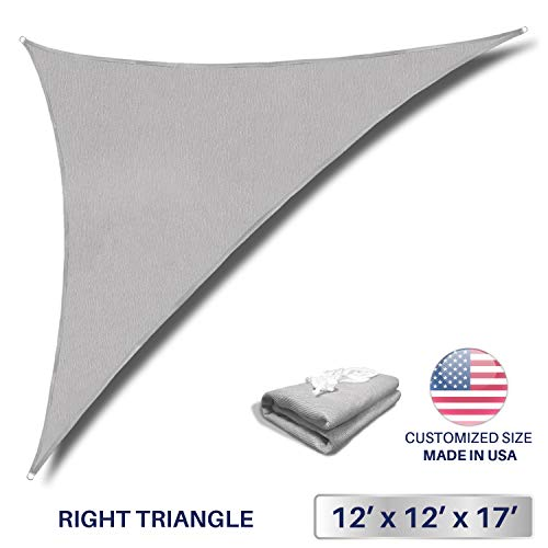 Windscreen4less 12' x 12' x 17' Sun Shade Sail Triangle Canopy in Light Grey with Commercial Grade (3 Year Warranty) Customized ()