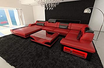 Sofa Dreams Leder Wohnlandschaft Mezzo U Form Rot Schwarz Amazon De