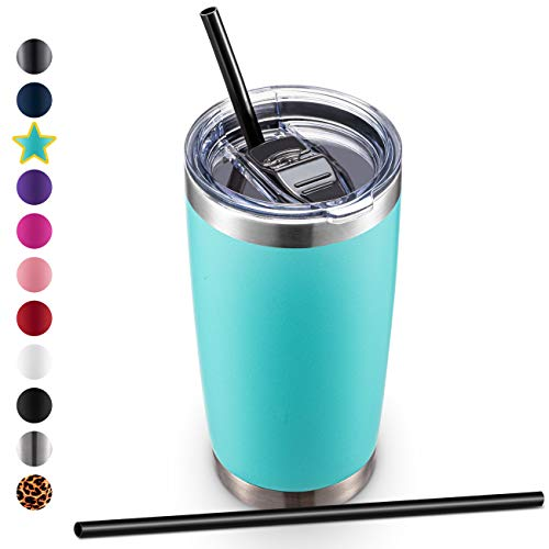 20oz Stainless Steel Tumbler with Lid and Straw