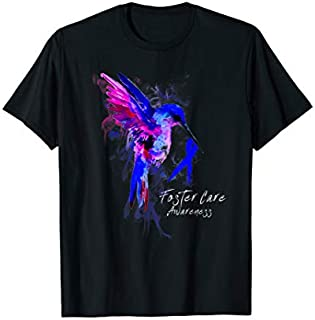 FOSTER CARE Awareness Humming Bird Ribbon Hope T-shirt | Size S - 5XL
