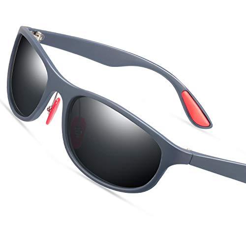 Polarized sport sunglasses for men-matte black frame wayfarer sunglasses for men driving sunglases for men (Black/Gray, 58)