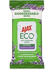 Ajax Eco Antibacterial Disinfectant Surface Cleaning Wipes, Bulk 110 Pack, Multipurpose, Biodegradable and Compostable, Made with Bamboo Fibres