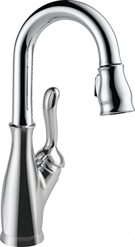 Delta Faucet Leland Single-Handle Bar-Prep Kitchen Sink Faucet with Pull Down Sprayer and Magnetic Docking Spray Head, Chrome (Decorative Bar Sink Polished Brass)