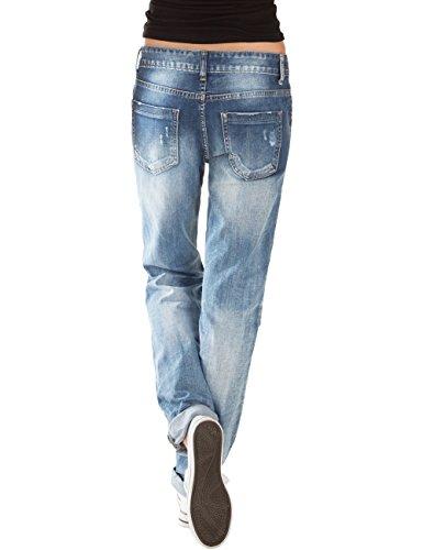 Azul mujer boyfriend Vaqueros cut Pantalones knee Fraternel xqYpwUEgF