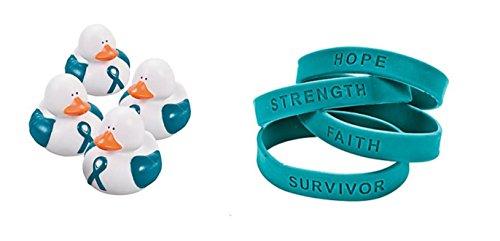 Cervical Cancer Support (1 Teal Awareness Rubber Duck + 1 Free Teal Awareness Bracelet. Support Ovarian cancer, cervical cancer, uterine cancer, Anxiety disorders (1))