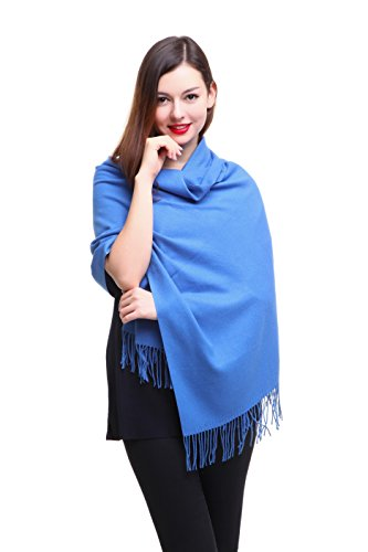 REEMONDE Womens Super Soft Long Shawl Solid Colors Warm Pashmina Big Scarf (Royal Blue)