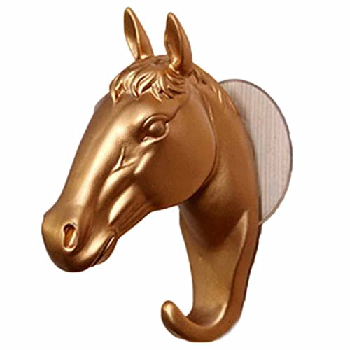 Fan-Ling 1PCS Stereo Horse-Head Wall Suction Cup Hook,Wall Piece Decorative Resin Home Furnishing Modern Small Horse Hooks Wall Jewelry Keys Hangers (Gold) (Laundry Dresser Basket Rolling)