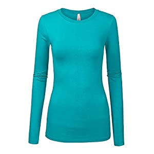 COLOR STORY Womens Basic Solid Multi Colors Slim Fit Long Sleeve Round Neck Top