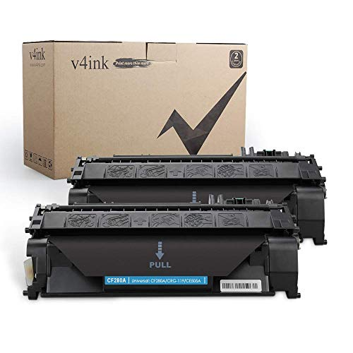 V4INK 2-Pack Compatible Toner Cartridge Replacement for HP 08A CF280A Toner Cartridge Black Ink for use in HP LaserJet Pro 400 M401N M401DN M401DNE M401DW, HP LJ Pro 400 MFP M425DN M425DW Printer (Hp 80a Black Original Laserjet Toner Cartridge)
