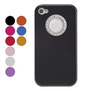 conseguir Color del diamante Marco Redondo Caso elegante de Solid Edge dura para el iPhone 4/4S (colores surtidos) , Rosa