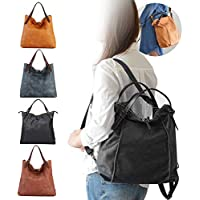 Brenice Women Multifunction Shoulder Bags PU Leather Travel Backpack Purse Vintage Tote Handbags