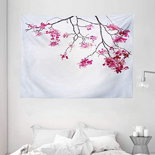 Ambesonne Japanese Tapestry, Cherry Blossom Sakura Tree Floral Branch Spring Season Theme Image, Wide Wall Hanging for Bedroom Living Room Dorm, 80 X 60 , Dimgray Black