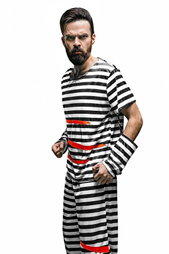 Adult Men Jailbird Costume Prisoner Striped Shirt Pants Convict Suit Jail Party (Medium/Large, Black, White)