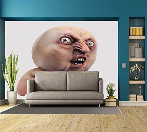 Funky Wall Mural Sticker [ Humor Decor,Scary Internet Meme with Why You No Expression Angry Trolling Chat Digital Design,Peach ] Self-adhesive Vinyl Wallpaper / Removable Modern Decorating Wall Art -