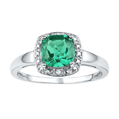 Jewel Tie Size - 7.5-925 Sterling Silver Cushion Round Green Simulated Emerald And White Diamond Fashion Band OR Engagement Ring Prong Set Solitaire Shaped Halo Ring (.01 cttw.)
