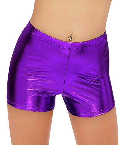 DIAMONDKIT Metallic Rave Booty Dance Shorts (M, Purple) -