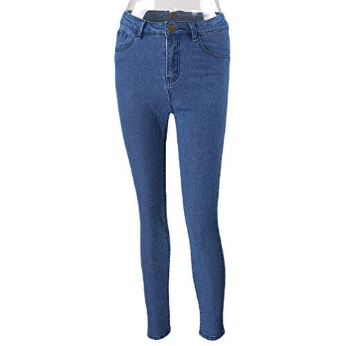 LINNUO Pantalones Vaqueros Con Cremallera Trasera Mujer Pantalón Largos Skinny Jeans Azul