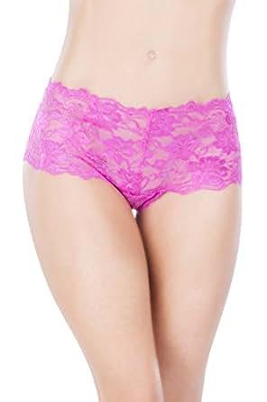 O Sexy Lingerie Women's Crotchless Boyshort, Pink, Small/Medium