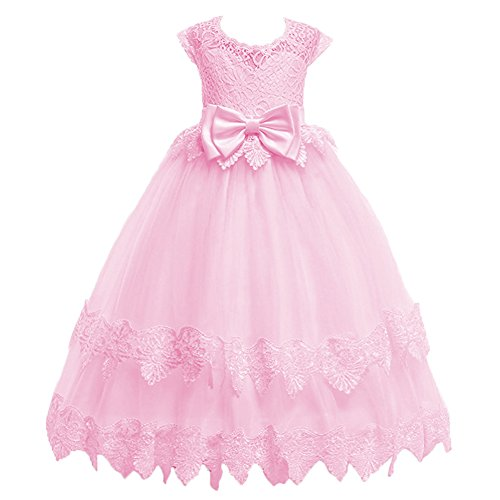 Little Big Girl Flower Princess Pageant Vintage Lace Dress for Kids Junior Bridesmaid Wedding Birthday Party Fall Dance Gown Pink 5T
