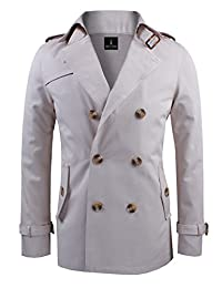 Tom's Ware Mens Stylish Slim Fit New Trench Coat