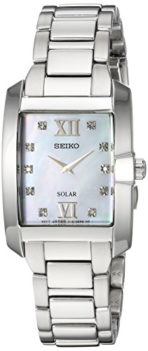 (Seiko Women's Diamond Solar Japanese-Quartz Watch with Stainless-Steel Strap, Silver, 8 (Model: SUP377))