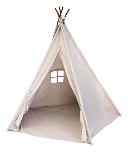 - Toysland Indoor Indian Playhouse Toy Teepee Play Tent for Kids Toddlers Canvas with Carry Case, Off White