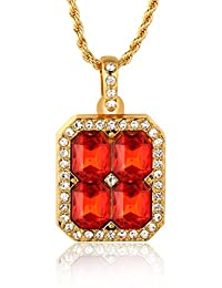 """Halukakah """"RUBY KINGDOM"""" 18k Real Gold Plated Gemstone Pendant Necklace with FREE Rope Chain 30"""""""