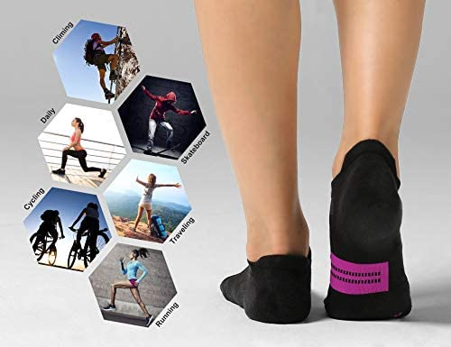 CelerSport 6 Pack Women's Ankle Running Socks Cushioned Low Cut Tab Athletic Socks