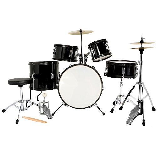 8 Piece Double Bass Shell - LAGRIMA Black Full Size 5 Piece Complete Kids Drum Set Cymbals with Stand,Hi-Hat,Drum Stool,Drum Sticks (16