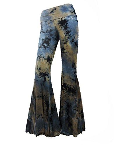 Sugar Rock Women Paisley Palazzo Hippie Pants Fold-Over Waist Bell Bottom Leg (Bell Bottom Pants)