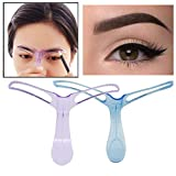 Makeup Eyebrow Grooming Stencil Shaper Ruler Measure Tool (Purple)