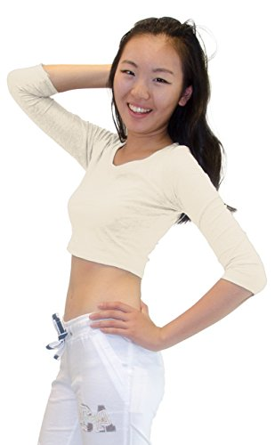 Ivory Crop (Vivian's Fashions Top - Crop Top, 3/4 Sleeve (Ivory, Small))
