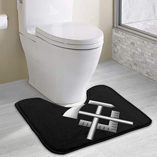 colory US Navy Hull Maintenance Technician Rating Badge Toilet Carpet Anti-Slip Contour Bath Rug Carpet Mat for Toilet 19.2″x15.7″